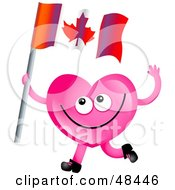 Royalty Free RF Clipart Illustration Of A Pink Love Heart Waving A Canada Flag