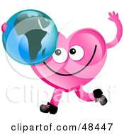 Royalty Free RF Clipart Illustration Of A Pink Love Heart Holding A Globe Featuring Africa