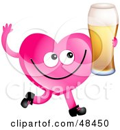 Royalty Free RF Clipart Illustration Of A Pink Love Heart Drinking Beer