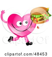 Royalty Free RF Clipart Illustration Of A Pink Love Heart Eating A Double Cheese Burger by Prawny