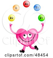 Royalty Free RF Clipart Illustration Of A Pink Love Heart Juggling Lottery Balls by Prawny