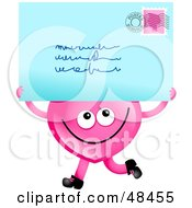 Royalty Free RF Clipart Illustration Of A Pink Love Heart Holding A Postmarked Letter by Prawny
