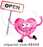 Royalty Free RF Clipart Illustration Of A Pink Love Heart Holding An Open Sign by Prawny