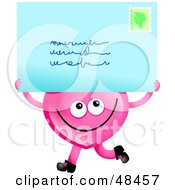 Royalty Free RF Clipart Illustration Of A Pink Love Heart Holding An Envelope by Prawny
