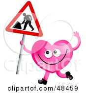 Royalty Free RF Clipart Illustration Of A Pink Love Heart Holding A Maintenance Sign by Prawny
