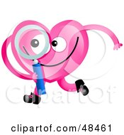 Royalty Free RF Clipart Illustration Of A Pink Love Heart Holding A Magnifying Glass