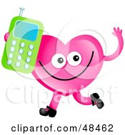 Royalty Free RF Clipart Illustration Of A Pink Love Heart Holding A Cell Phone by Prawny