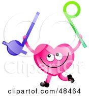 Royalty Free RF Clipart Illustration Of A Pink Love Heart Holding Music Toys