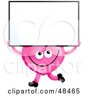 Royalty Free RF Clipart Illustration Of A Pink Love Heart Holding A Blank Sign by Prawny