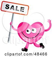Royalty Free RF Clipart Illustration Of A Pink Love Heart Holding A Sale Sign by Prawny