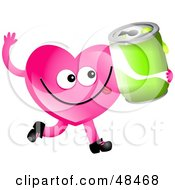 Royalty Free RF Clipart Illustration Of A Pink Love Heart Holding A Soda by Prawny