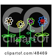 Royalty Free RF Clipart Illustration Of Colorful Stick Flowers On Black