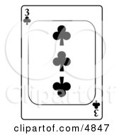 Three3 Of Clubs Playing Card Clipart by djart