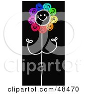 Royalty Free RF Clipart Illustration Of A Happy Rainbow Colored Stick Flower On Black by Prawny