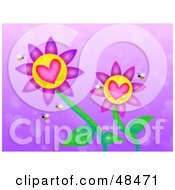 Royalty Free RF Clipart Illustration Of Heart Flowers With Bees On A Purple Heart Background by Prawny