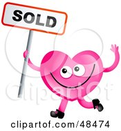 Royalty Free RF Clipart Illustration Of A Pink Love Heart Holding A Sold Sign