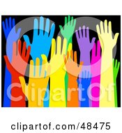 Royalty Free RF Clipart Illustration Of A Diverse And Colorful Group Of Raised Hands On Black by Prawny #COLLC48475-0089