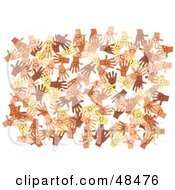 Royalty Free RF Clipart Illustration Of A White Background Of Diverse And Happy Hands by Prawny