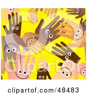 Yellow Background Of Happy Diverse Hands