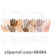 Row Of Diverse And Happy Hands On White