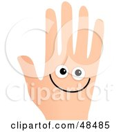 Royalty Free RF Clipart Illustration Of A Smiley Face Hand On White by Prawny
