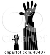 Royalty Free RF Clipart Illustration Of Black Handy Hands Waving by Prawny