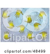 Grungy Background Of Golden Hand Prints On Blue Texture