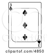 Three3 Of Spades Playing Card