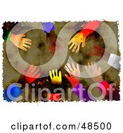 Royalty Free RF Clipart Illustration Of A Grungy Background Of Diverse Hands Reaching