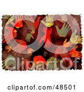 Royalty Free RF Clipart Illustration Of A Grungy Background Of Hand Prints On Red by Prawny