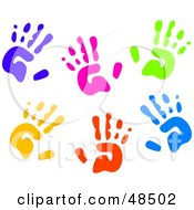 Royalty Free RF Clipart Illustration Of A White Background Of Colorful Hand Prints