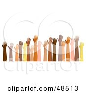 Royalty Free RF Clipart Illustration Of Raised Hands Of Different Ethnic Backgrounds by Prawny