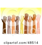 Royalty Free RF Clipart Illustration Of A Group Of Raised Hands Of Different Ethnic Groups by Prawny