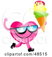 Royalty Free RF Clipart Illustration Of A Pink Love Heart Eating Ice Cream by Prawny