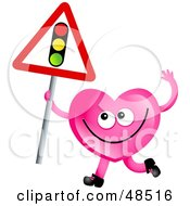 Royalty Free RF Clipart Illustration Of A Pink Love Heart Holding A Traffic Light Sign by Prawny
