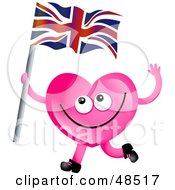 Royalty Free RF Clipart Illustration Of A Pink Love Heart Waving A Union Jack Flag by Prawny