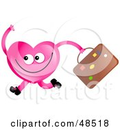 Royalty Free RF Clipart Illustration Of A Pink Love Heart Running With Luggage by Prawny