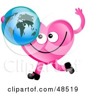 Royalty Free RF Clipart Illustration Of A Pink Love Heart Holding A World Globe by Prawny