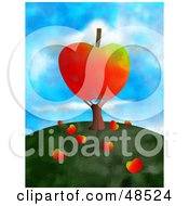 Royalty Free RF Clipart Illustration Of An Apple Tree With Fruits Falling On The Hill Top