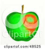 Royalty Free RF Clipart Illustration Of A Green Apple With Slight Blush