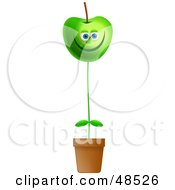 Royalty Free RF Clipart Illustration Of A Happy Green Apple Potted Plant