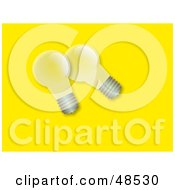 Royalty Free RF Clipart Illustration Of Two Transparent Light Bulbs On Yellow by Prawny