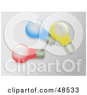 Royalty Free RF Clipart Illustration Of Three Colorful Light Bulbs by Prawny