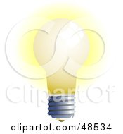 Royalty Free RF Clipart Illustration Of A Glowing White Light Bulb On White by Prawny