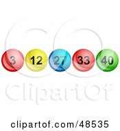 Royalty Free RF Clipart Illustration Of A Row Of Shiny Lottery Balls With Numbers by Prawny