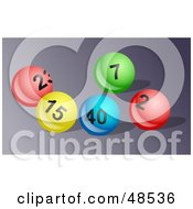 Royalty Free RF Clipart Illustration Of Bright And Shiny Lottery Balls On A Gray Surface