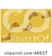 Royalty Free RF Clipart Illustration Of A Yellow Background Of Happy Foot Trails