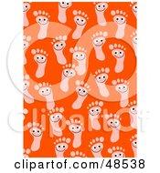 Orange Background Of Happy Foot Prints