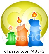 Royalty Free RF Clipart Illustration Of Three Lit Wax Candles