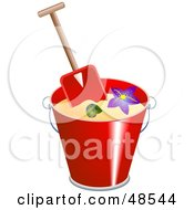 Royalty Free RF Clipart Illustration Of A Spade In A Bucket With Sand Shells And A Starfish by Prawny